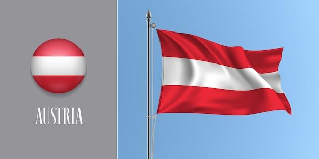 Österreich winkende flagge auf fahnenmast und runder symbolillustration