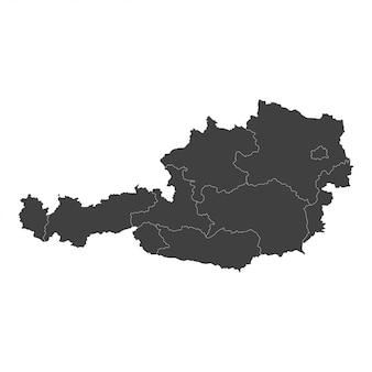 Österreichkarte mit ausgewählten regionen in schwarzer farbe