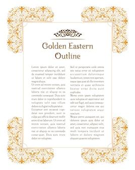Östlicher goldblumenrahmen für dekorationsdesignschablone