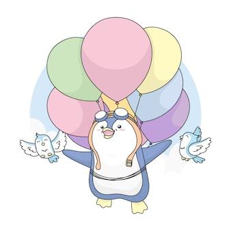 Of cute penguin kann mit vögeln fliegen und ballon benutzen.