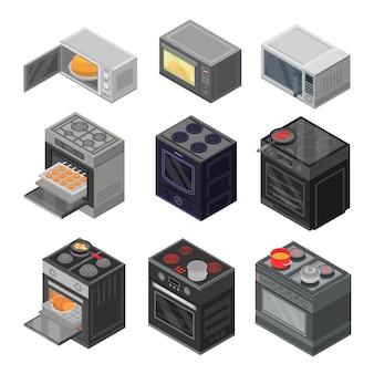 Ofen-icon-set. isometrischer satz ofenvektorikonen für das webdesign lokalisiert auf weißem hintergrund