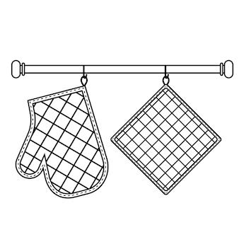 Ofenhandschuh und ofenhandschuh hängen am gestell an haken, schwarze kontur isolierte vektorgrafik im flachen stil.