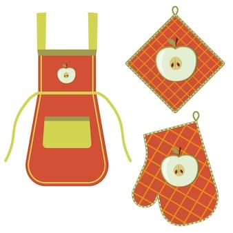 Ofenhandschuh und ofenhandschuh und schürze hängen am gestell an haken, farbisolierte vektorgrafik im flachen stil