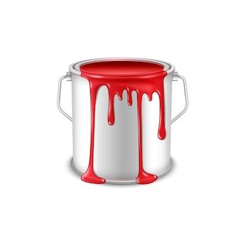Offene blechdose mit verschütteter roter farbe.