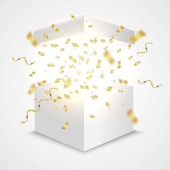 Offene box mit goldenem konfetti-geschenkbox-überraschungskonzept