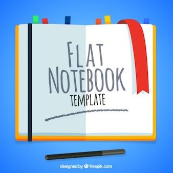 Offene flache notebook mit lesezeichen