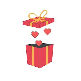 Offene geschenkbox mit fliegenherzen