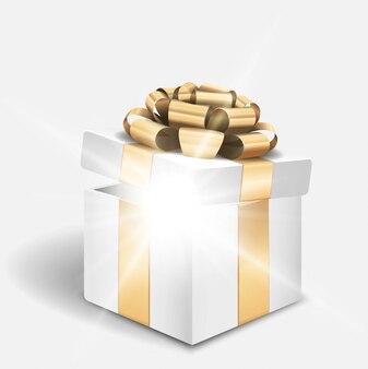 Offene geschenkbox mit glänzendem licht