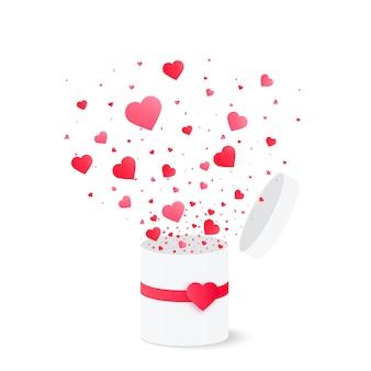 Offene geschenkbox mit herz konfetti platzen. vektor-illustration valentinstag-konzept