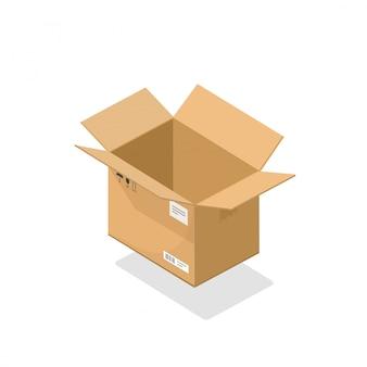Offene illustrationskarikatur 3d des papppaketkasten-pakets isometrisch
