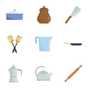 Offene küche icons set, cartoon-stil