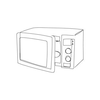 Offene mikrowelle kontinuierliche strichzeichnung eine strichzeichnung der haushaltsgeräteküche, die lebensmittel kocht