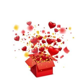 Offene rote geschenkbox mit fliegenden herzen und hellen lichtstrahlen, explosion platzen. alles gute zum valentinstag geschenkbox