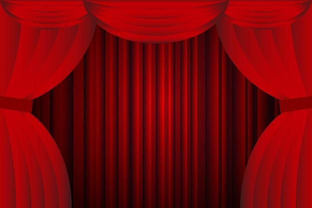 Offene rote vorhänge mit opern- oder theaterhintergrund
