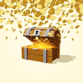 Offene truhe mit gold, von oben fallen viele münzen. vektor-illustration