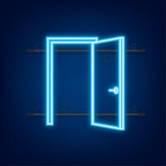 Offene tür. innenarchitektur. neon-symbol. geschäftskonzept. vorderansicht. heimbüro. vektor-illustration