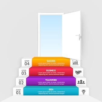 Offene tür treppe hinauf startup-infografik-vorlage geschäftsideen-diagramm 4 schritte