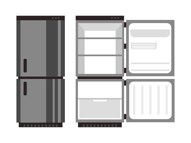 Offene und geschlossene kühlschranklebensmittel-vektorillustration