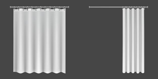 Offene und geschlossene weiße duschvorhänge