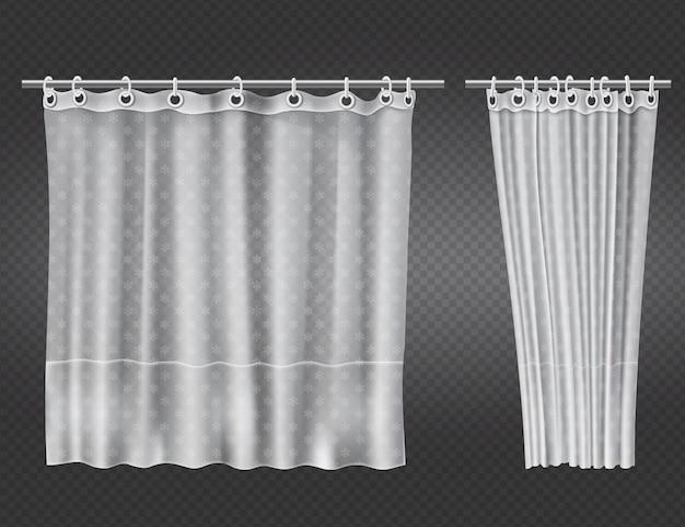 Offene und geschlossene weiße transparente duschvorhänge