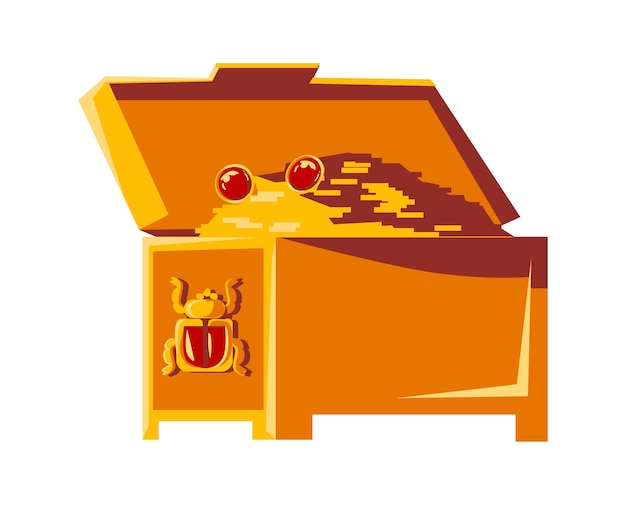 Offene weinlesekiste mit goldmünzen und dem symbol des ägyptischen skarabäuskäfers, pharao-schatzkarikatur-vektorillustration