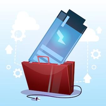 Offener aktenkoffer mit schwacher batterie geschäftsenergiekonzept