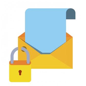 Offener brief mit vorhängeschloss isoliert symbole