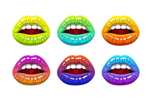 Offener frauenmund mit regenbogenfarbenen glänzenden lippen und herz auf der zunge. illustration.