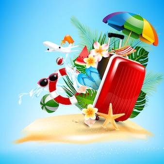 Offener gepäckreisetasche des flugzeugs mit seesternblumenpalme