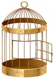 Offener goldener vogelkäfig ein leerer vogelkäfig