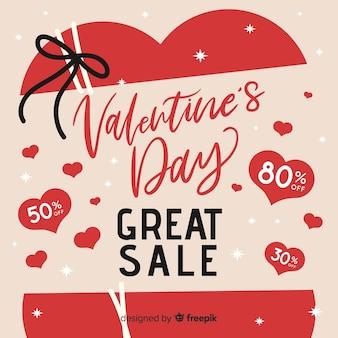 Offener Herz Valentinstag Verkaufshintergrund