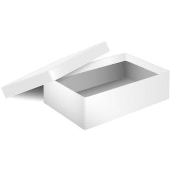 Offener karton isoliert auf weißem hintergrund