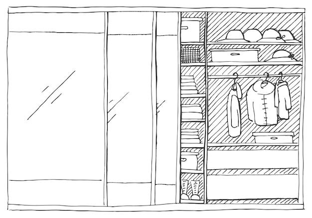 Offener kleiderschrank mit kleidung in regalen und kleiderbügeln. illustration eines skizzenstils.