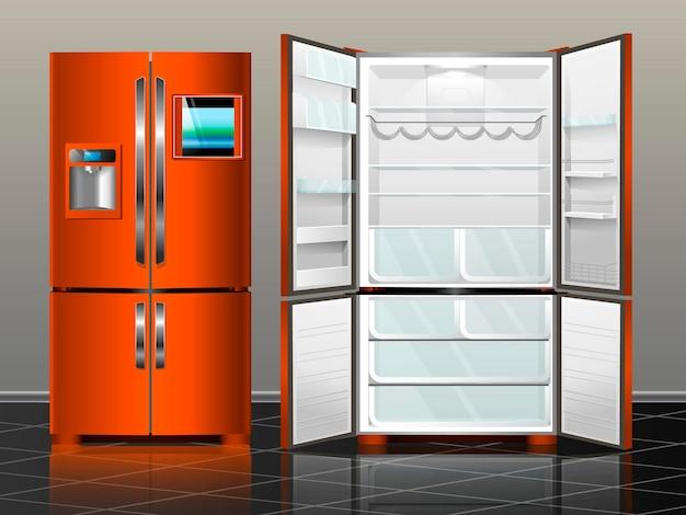 Offener kühlschrank mit gefrierfach. kühlschrank geschlossen. vector illustration orange moderner kühlschrank des innenraums.