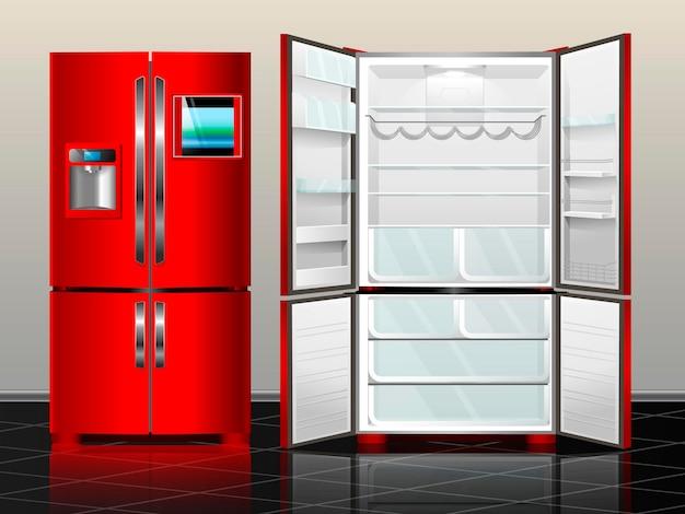 Offener kühlschrank mit gefrierfach. kühlschrank geschlossen. vektorillustration roter moderner kühlschrank des innenraums.