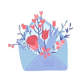 Offener liebesbrief mit blumen innen über umschlag. valentinstagskarte