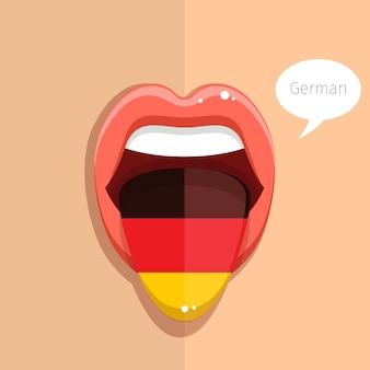 Offener mund der deutschen sprachzunge mit gesicht der deutschen flaggenfrau flache designillustration