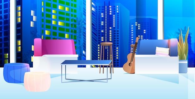 Offener raum coworking center modernen schrank innen büroraum mit möbeln nacht stadtbild horizontal