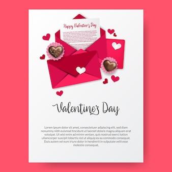 Offener umschlag des liebesbriefs mit 3d schokoladenliebesherzcupcake-illustrations-valentinstagplakatfahnenschablone