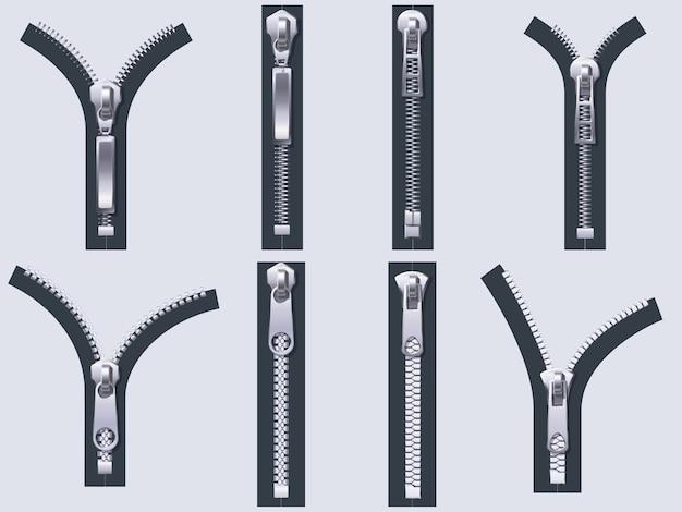 Offener und geschlossener reißverschluss. metallreißverschlüsse, stoffverschlussverschluss und stoffreißverschlüsse isolierten realistisches set