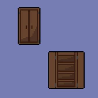 Offener und geschlossener schrank im pixel-art-stil