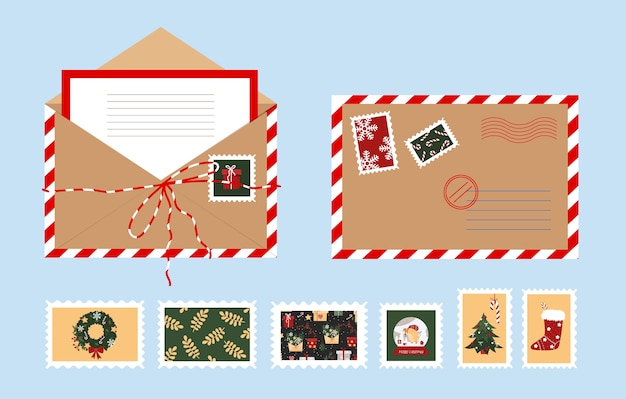 Offener weihnachtsumschlag mit einem brief. neujahrs-briefmarken.