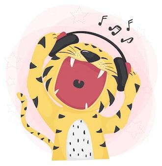 Offener weiter mund des flachen netten tigers, der musik hört und singt