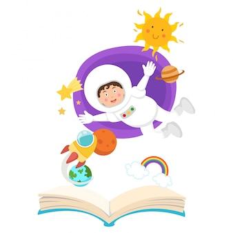 Offenes buch astronaut im weltraum konzept der bildung.illustration