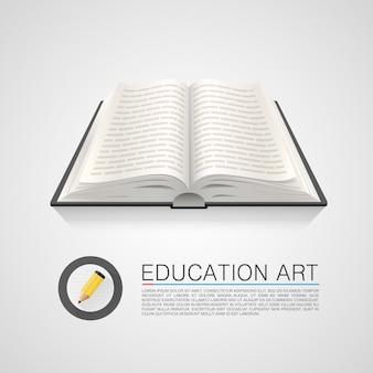 Offenes buch bildung kunst auf weißem hintergrund. vektor-illustration