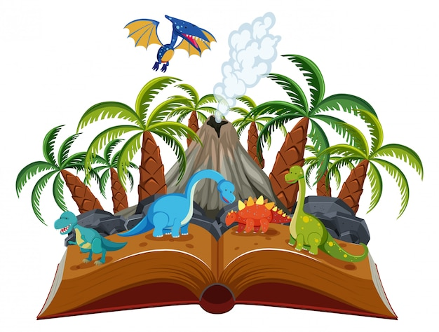 Offenes buch-dinosaurier-thema