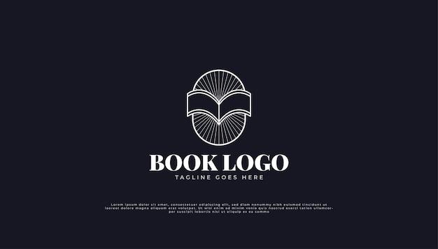 Offenes buch-logo mit linearem konzept im vintage-stil.