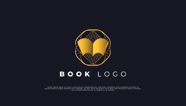 Offenes buch-logo mit luxuriösem vintage-stil in gold-farbverlauf.
