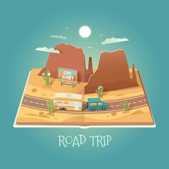 Offenes buch mit berglandschaft. straße in der wüste. ausflug. suv und anhänger. reiseillustration.