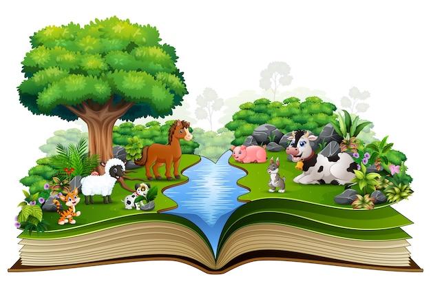 Offenes buch mit der tierfarm, die im park spielt